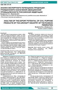 Анализ экспортного потенциала продукции гражданского назначения авиационной промышленности Российской Федерации